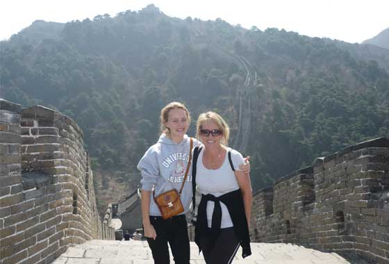 Karen and daughter on great wall of china