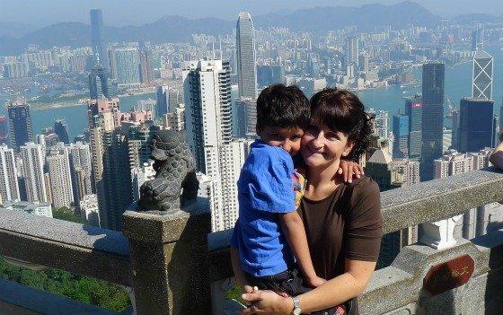 Xavier and his mum, Geraldine, at The Peak