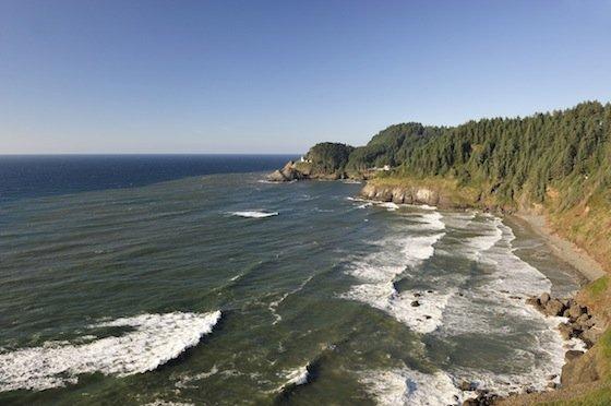 View from Sea Lions Cave, Heceta Head Lighthouse, Oregon Coast, Oregon, USA
