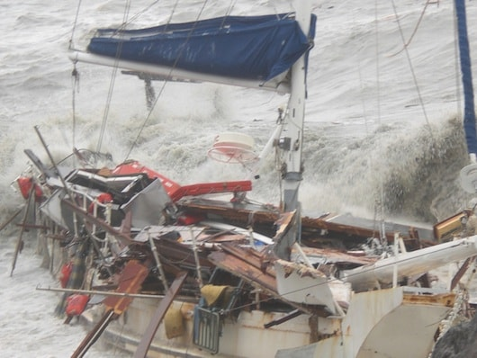 Wrecked boats thanks to Cyclone Oswald