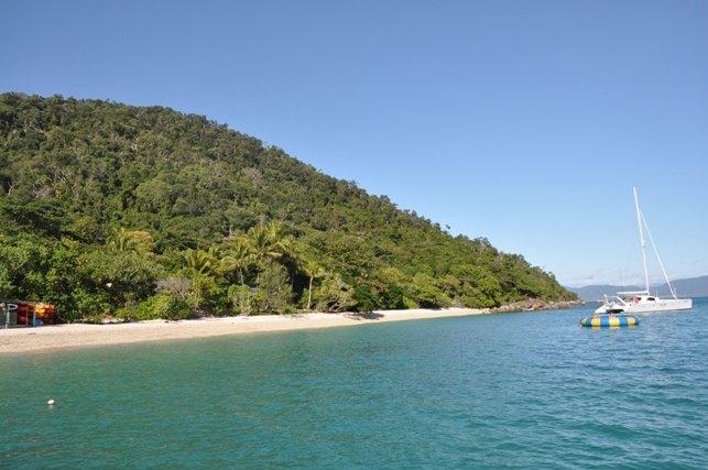 Breath taking Fitzroy Island sea trampoline and beach