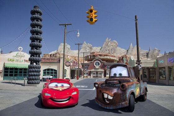 "MEET LIGHTNING MCQUEEN AND MATER IN CARS LAND -- Coming to Disney California Adventure park June 15, 2012, Cars Land features three immersive family attractions showcasing characters and settings from the Disney-Pixar film, ""Cars,"" including one of the largest and most elaborate themed environments ever created for a Disney park. McQueen and Mater will be greeting park guests daily outside the Cozy Cone Motel on Route 66. (Paul Hiffmeyer/Disneyland Resort)"