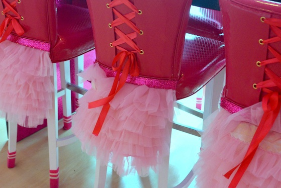 Bobby sox and corset-clad chairs at Barbie Cafe, Tapei