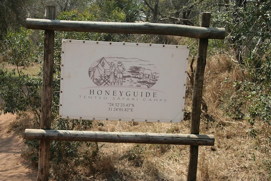 Kruger Honeyguide 560 tented safari camp sign