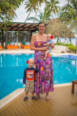 Mum, Lachlan, and Noah at the pool