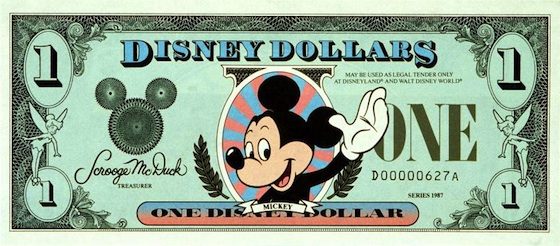 Disney Dollars first introduced at Disneyland in 1987! ©The Walt Disney Company