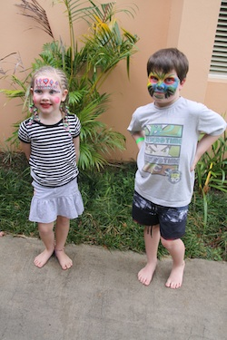 Redux 250 vert Fiji Jett & Lola face-painted at Kids Club Sheraton Denarau