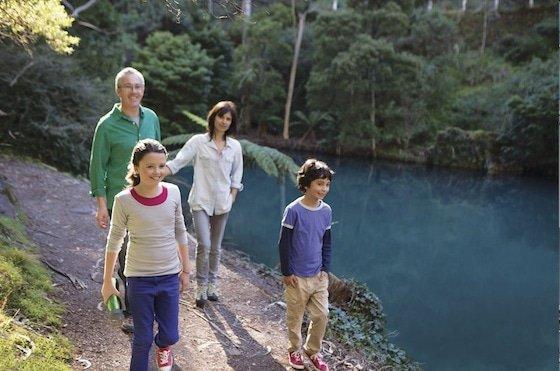 Walking beside Blue Lake at Jenolan Caves Image: © Michael French/Destination NSW