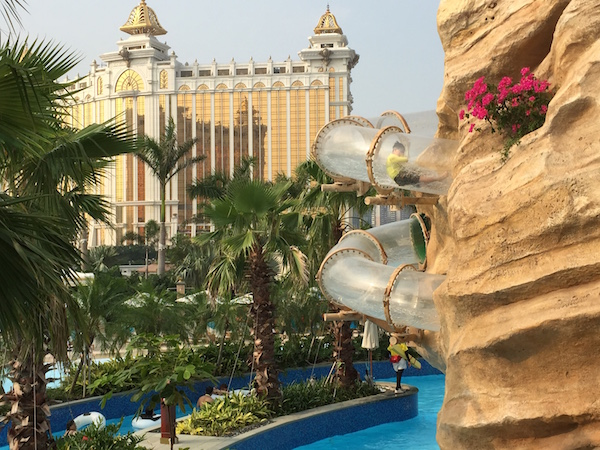 waterslides & the lazy river at Galazy Macau