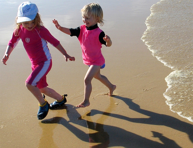 Beach Kids Running