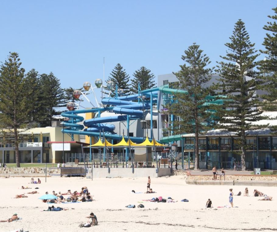 Waterslide and ferris wheel on Glenelg Beach