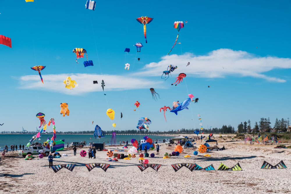 Colourful kites of all shapes over Semaphore Beach