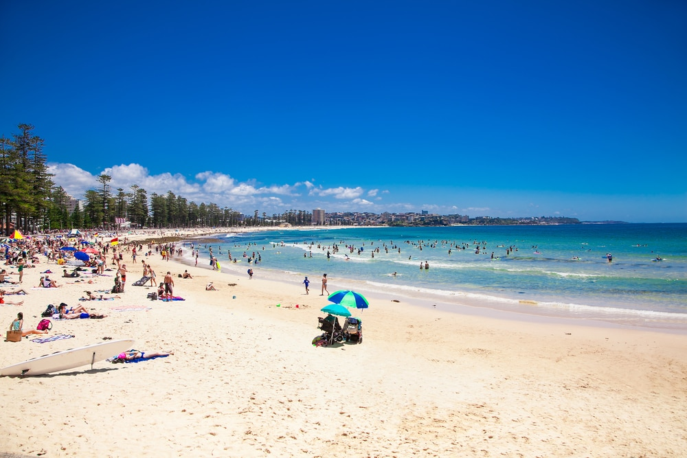 Wide sandy beach of Manly, Sydney