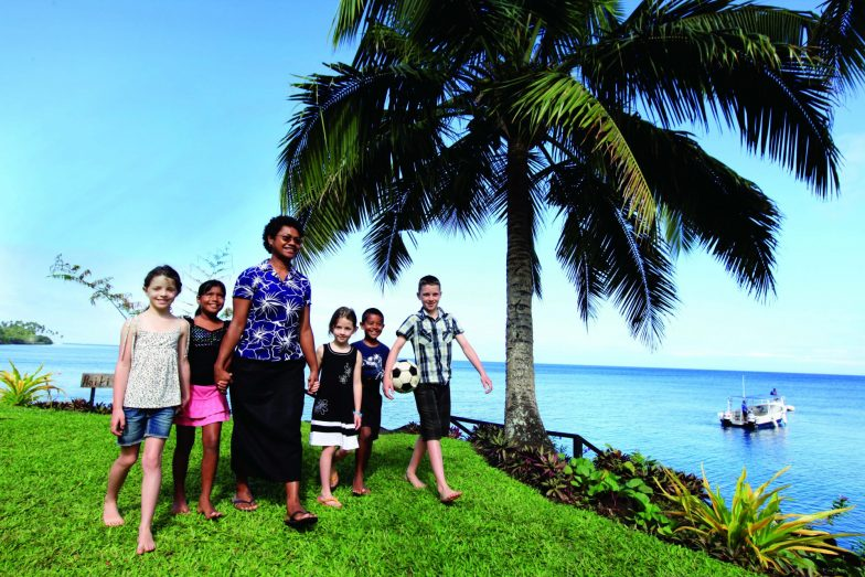 Children with a nanny at Paradise Taveuni