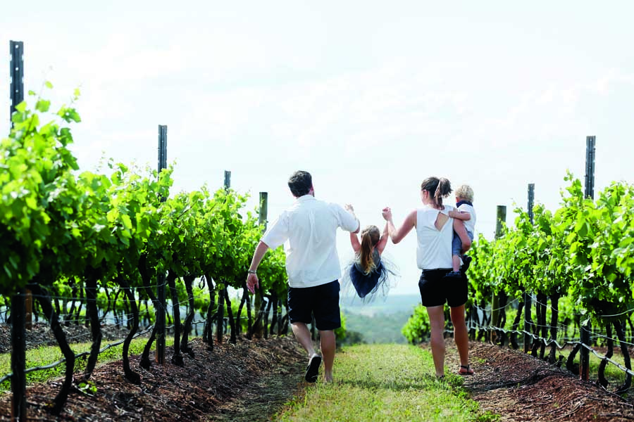 a family at scarborough wines in the nsw hunter valley