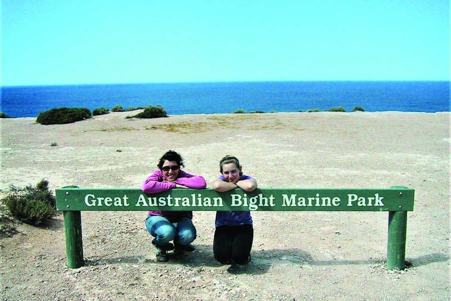catherine and her daughter on the nullarbor plain