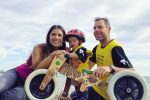 feat cadel evans with his partner stefania zandonella and their son Aidan before the great ocean road race in victoria
