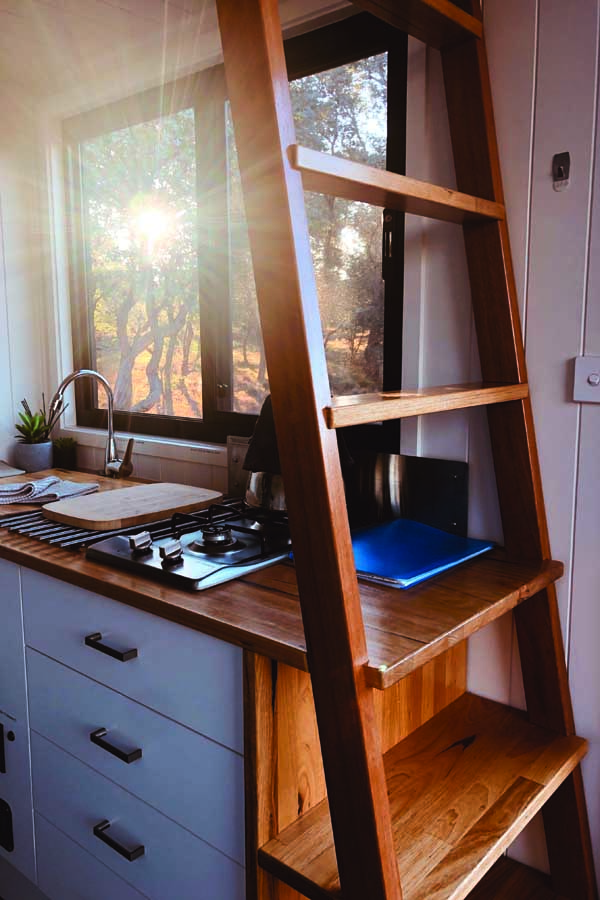 inside the tiny house at walden