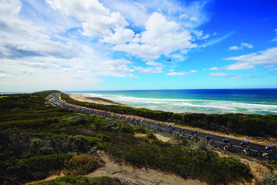 riders in the cadel evans great ocean road race are treated to magnificent views r