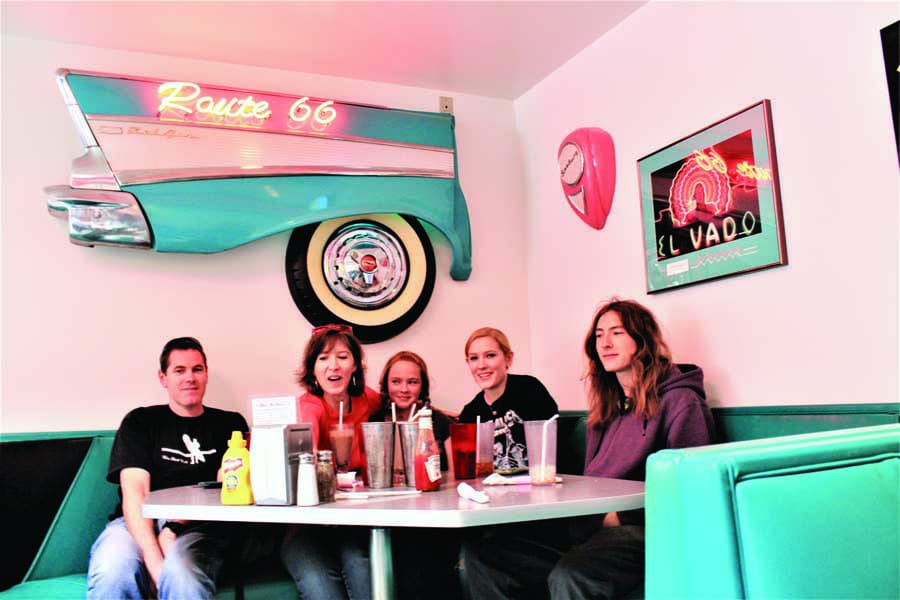 the family at a diner on route 66