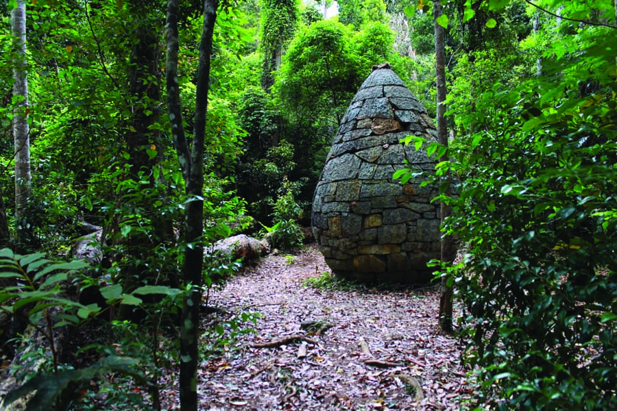 the strangler cairn in conondale national park. image hinterland tourism sunshine coast