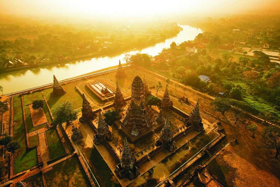 an aerial view of wat chaiwatthanaram at ayutthaya