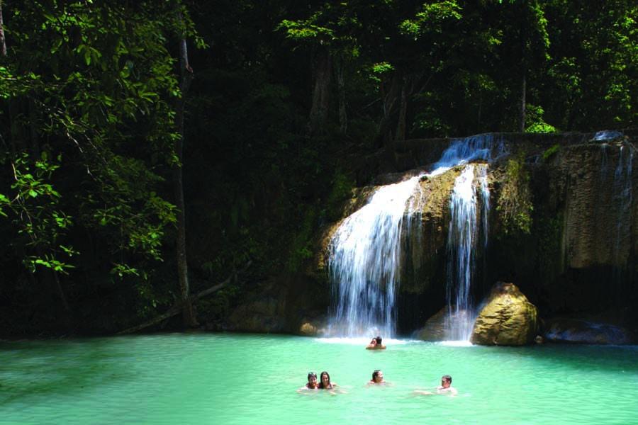 go swimming at erawan waterfall