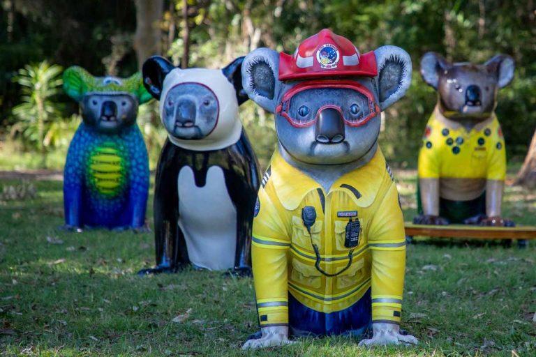 hello koala sculpture frankie firefighter