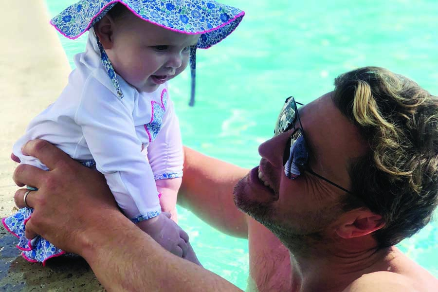 rubys first swim with daddy in la