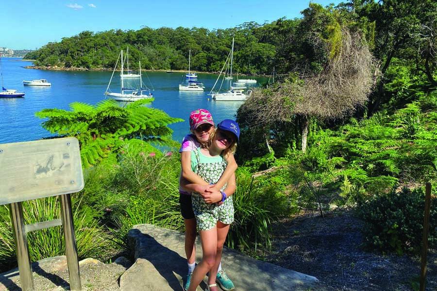 megans children pippa and hatty near chowder bay on the bondi to manly walk