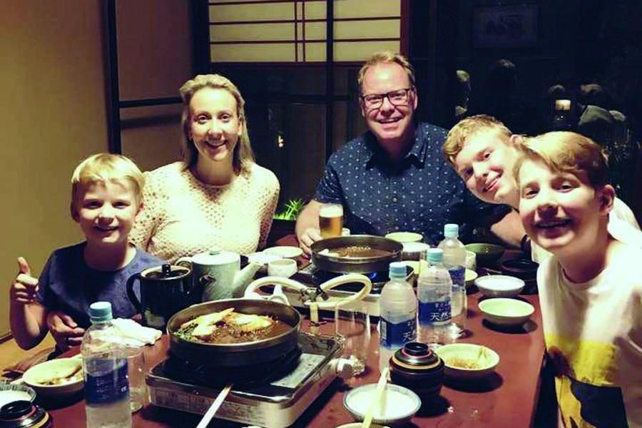 the family enjoying dinner in japan in 2017