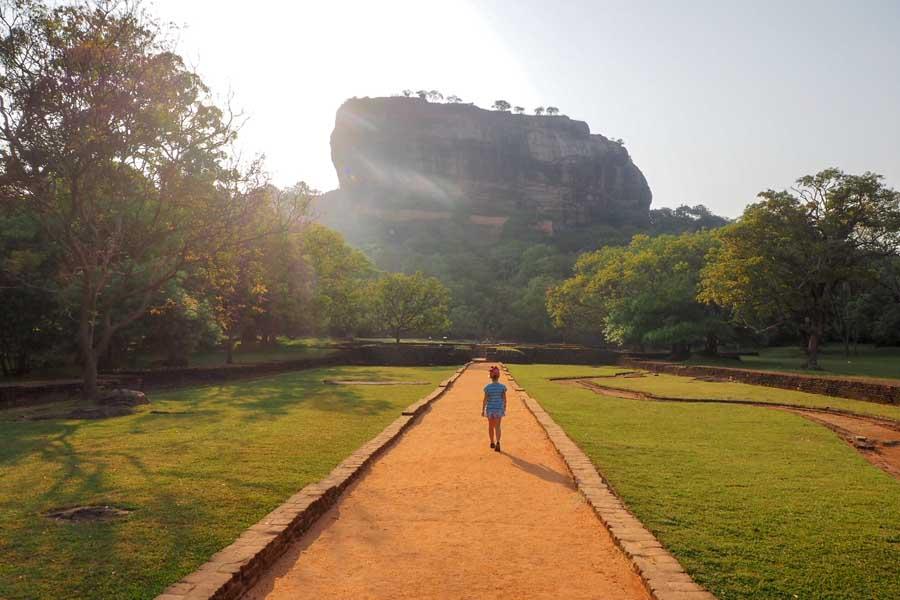 walking up to sigiriya the ancient rock fortress