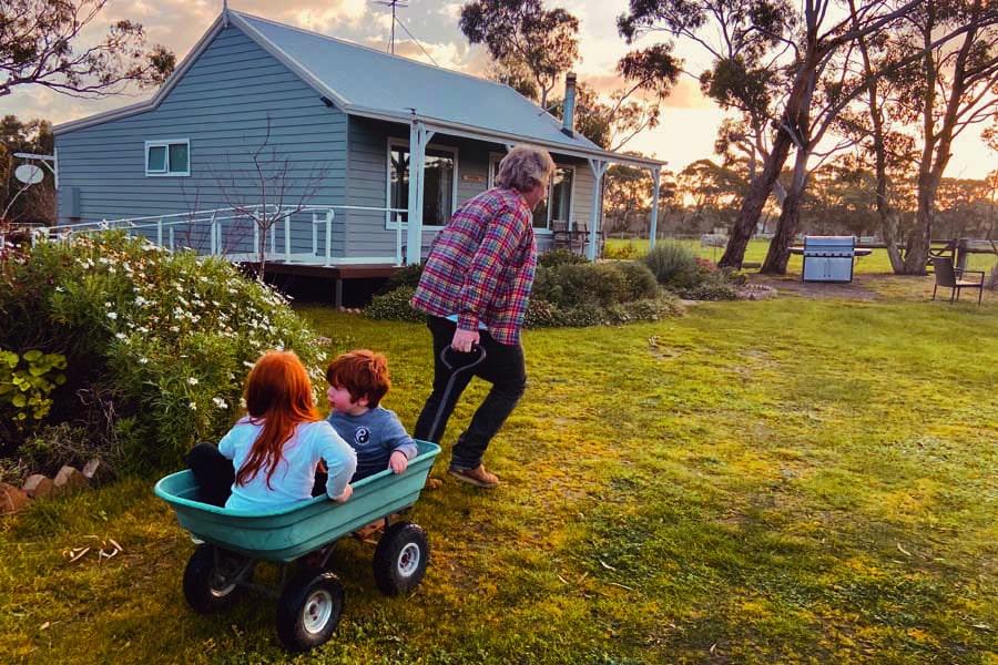 wheelbarrow rides with dad