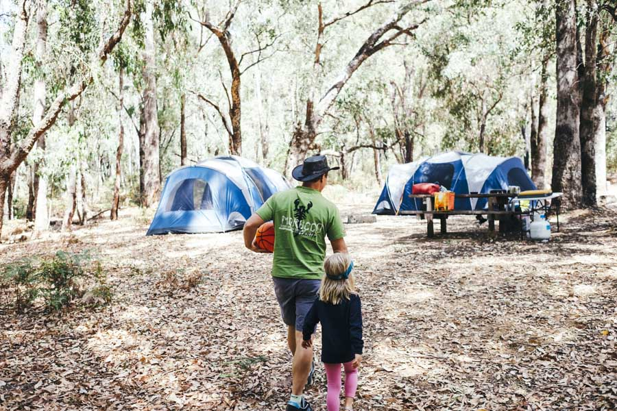 a family camping at lane poole reserve in dwellingup - travel with kids