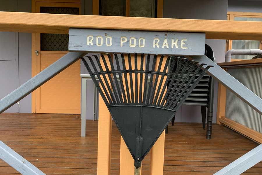 a roo poo rake at durras lake north holiday park