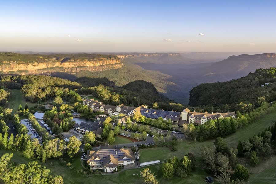 an aerial view of the fairmont resort and spa blue mountains