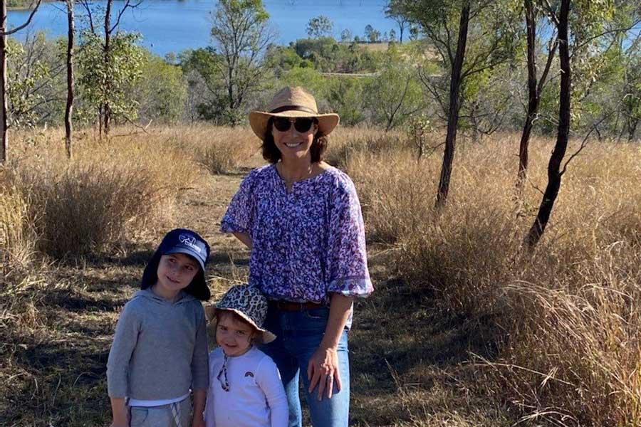 giaan and her kids in wyaralong dam in queensland