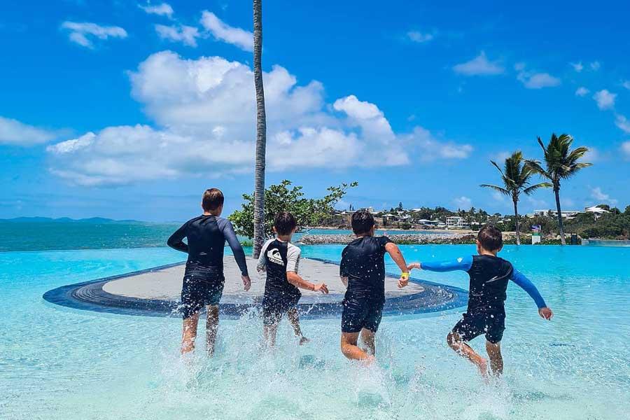 the boys hit the water at yeppoon lagoon