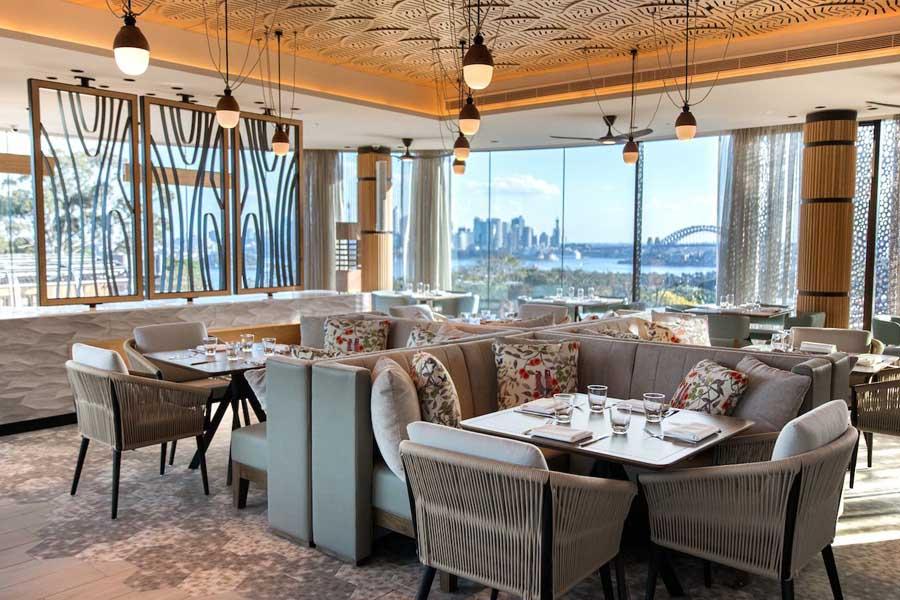 the restaurant offers views of the sydney harbour bridge