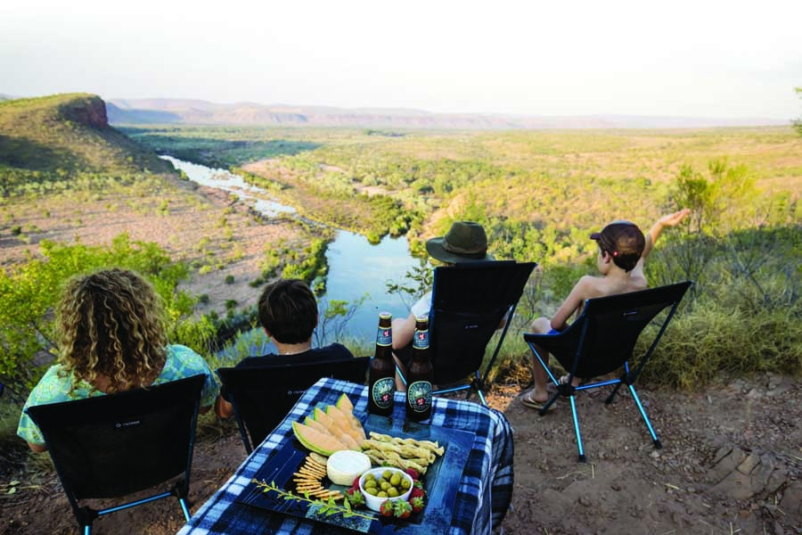 a family at brancos lookout in el questro wilderness park in the kimberley. image tourism western australia