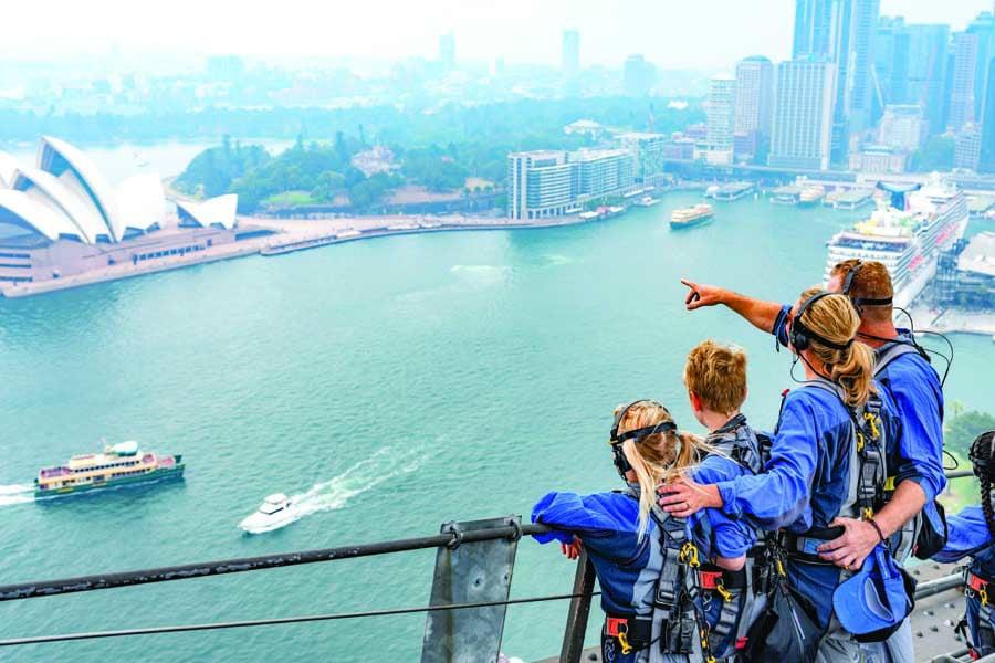 a family enjoying bridgeclimb sydney