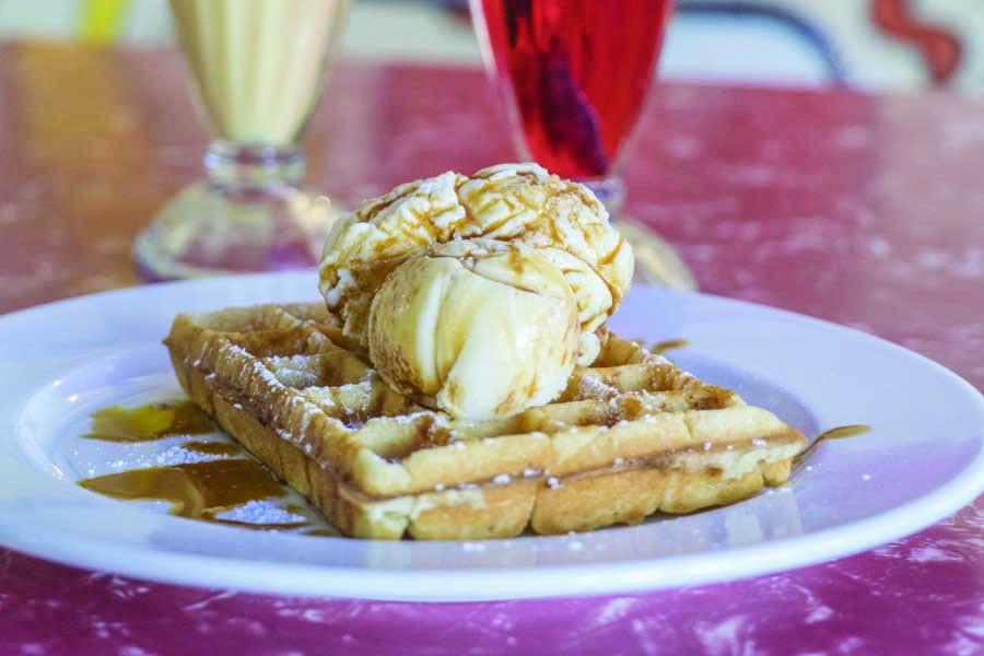 a waffle at bells milk bar at broken hill. image destination nsw
