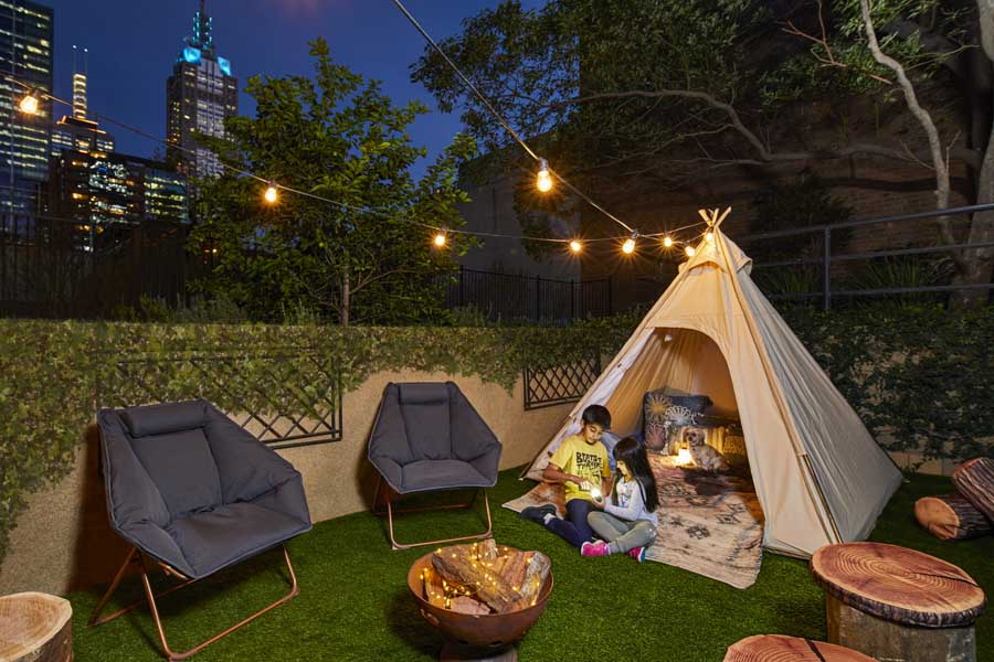 a glamping room at melbourne marriott hotel - a family friendly hotel in australia
