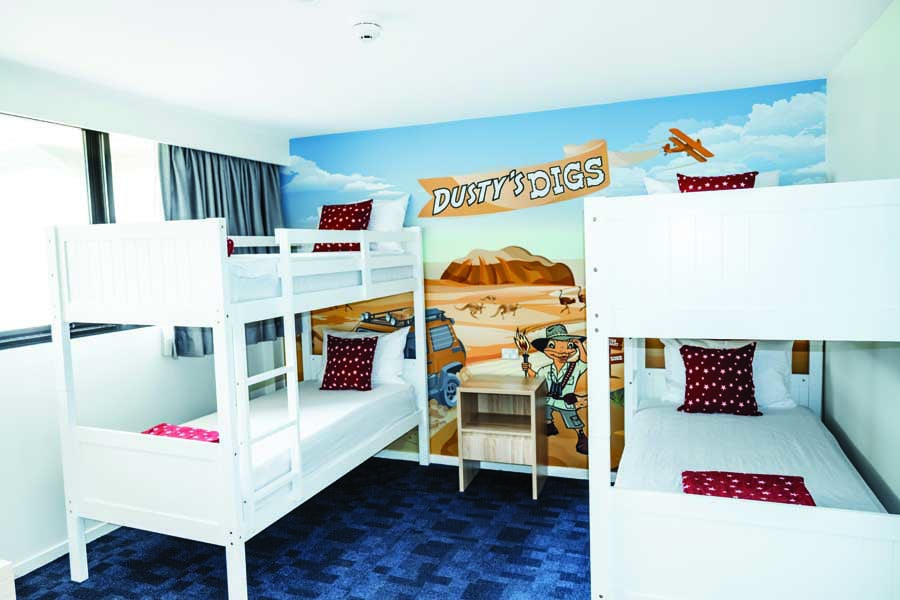 bunk beds in a deluxe family room at paradise resort gold coast
