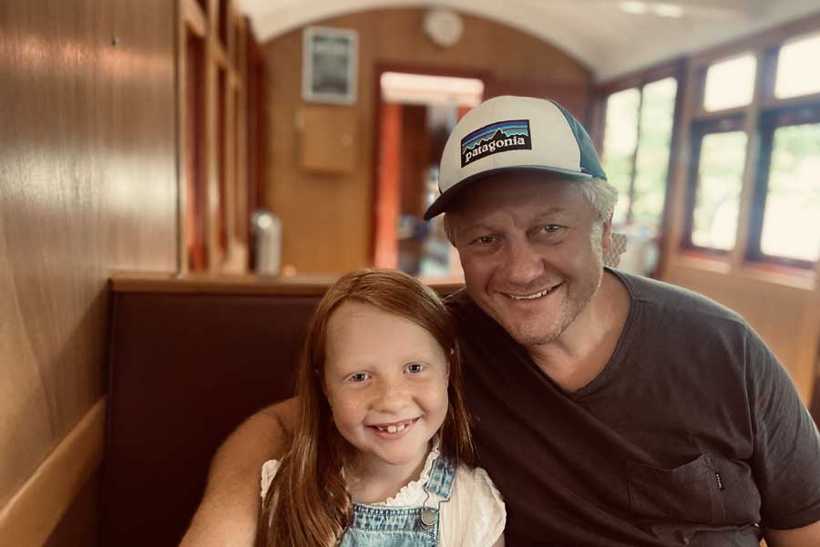 dad and daisy onboard the mary valley rattler
