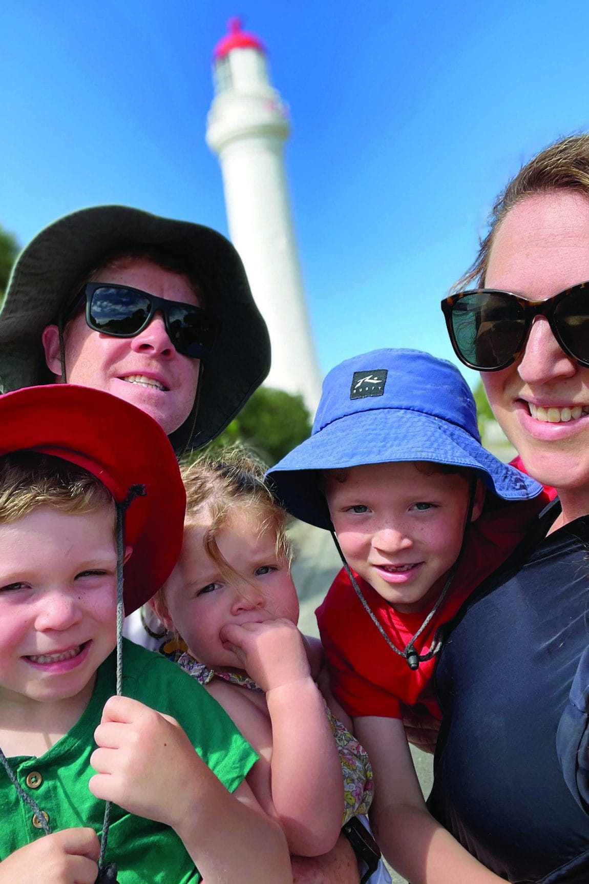 family selfie at split point lighthouse from the tv series round the twist - Great Ocean Road family trip