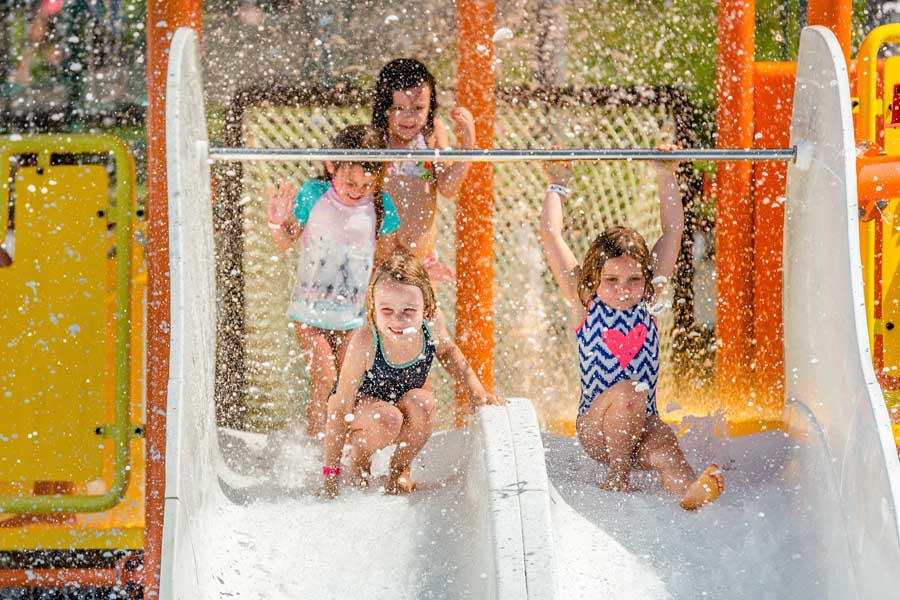 kids on the slippery dip at big4 gold coast holiday park