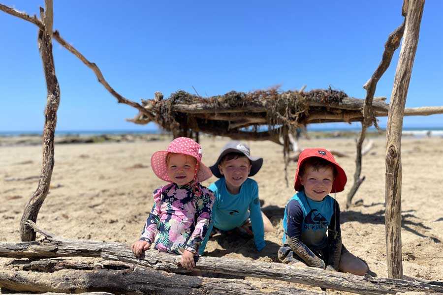 lola louis and harry enjoying their beach hut at childers cove - Great Ocean Road family trip