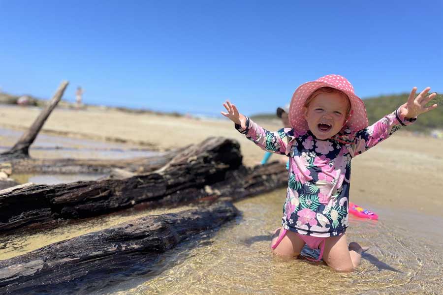 lola splashing about in kennett river - Great Ocean Road family trip
