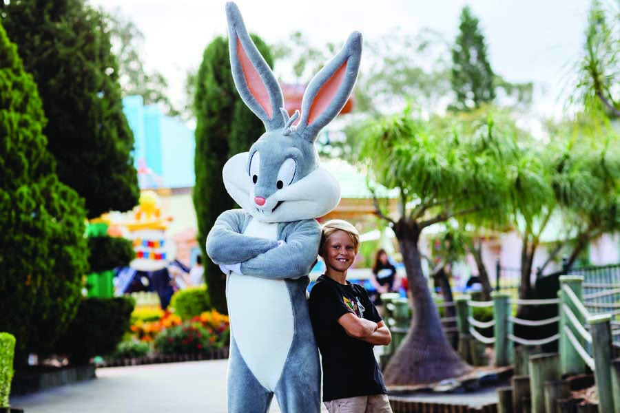 To meet bugs bunny from warner bros. movie world is a must visit Gold Coast theme park.